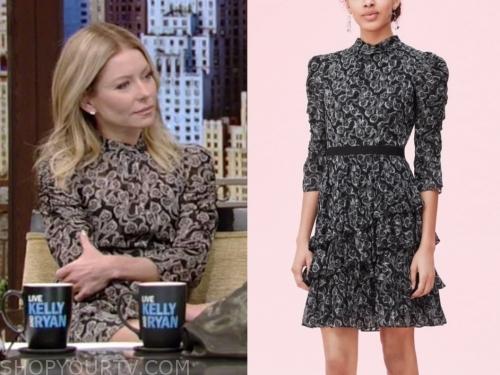 kelly ripa's black lace ruffle tiered dress