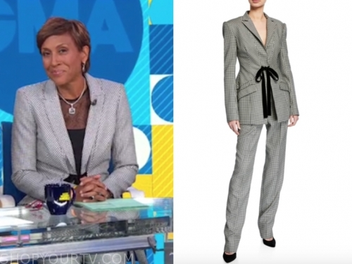 robin roberts's houndstooth tie blazer and pant suit