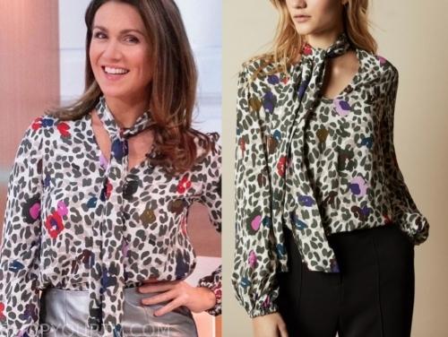 susanna reid's leopard tie neck blouse
