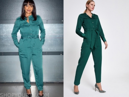 ranvir singh's green satin jumpsuit