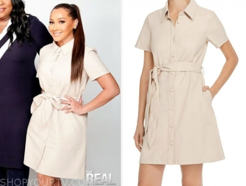 adrienne bailon, the real, beige leather dress