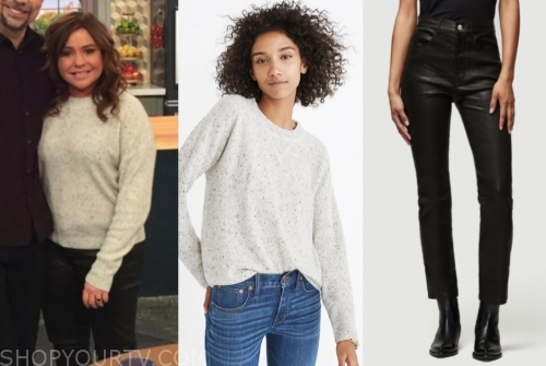 rachael ray's grey sweater and black leather pants