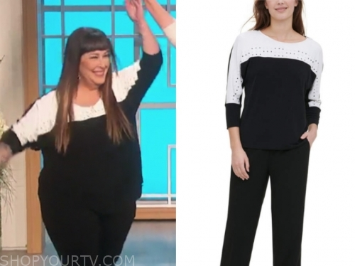 carnie wilson's black and white colorblock studded top