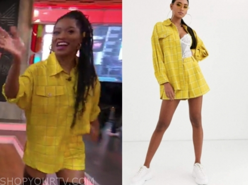 keke palmer's yellow check shirt and shorts set