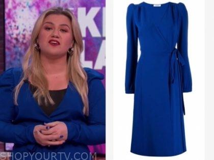 kelly clarkson's blue wrap dress