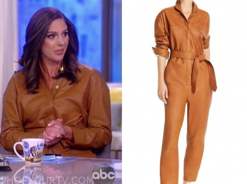 abby huntsman's brown leather jumpsuit