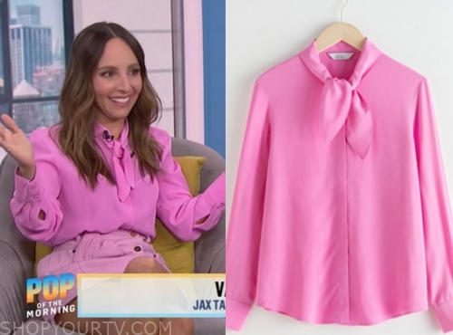 lilliana vazquez's pink tie neck blouse