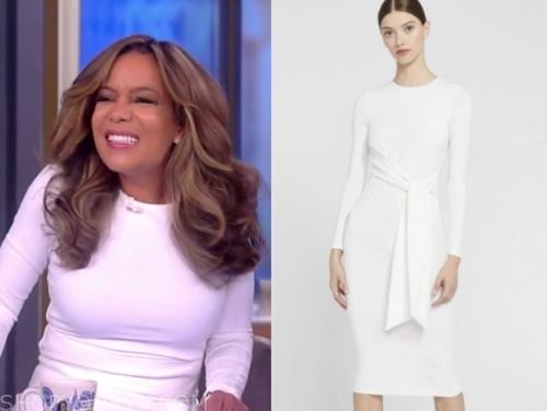 sunny hostin's white long sleeve dress
