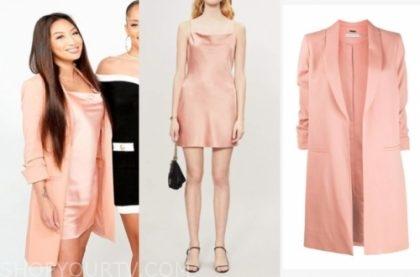 jeannie mai's peach pink slip dress and coat