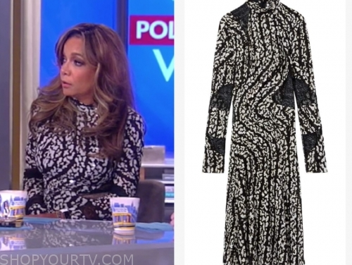 sunny hostin's black and white printed dress