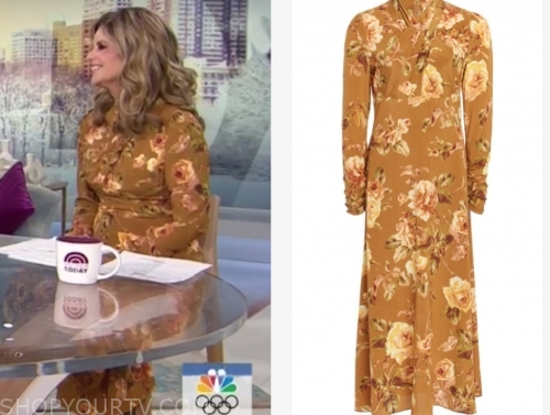 maria shriver's brown floral midi dress