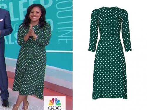 sheinelle jones's green and white polka dot midi dress