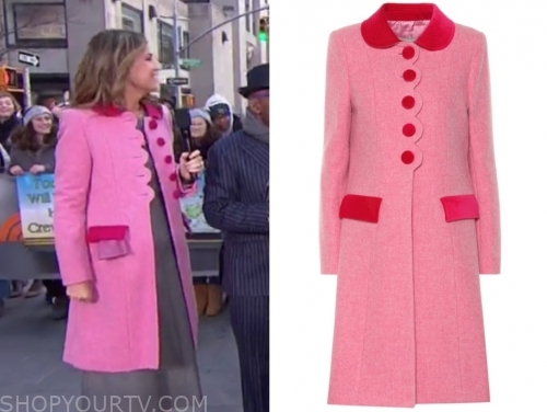 savannah guthrie's pink and red scallop coat