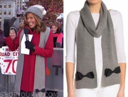 hoda kotb's grey and black bow scarf