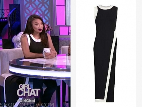 jeannie mai's black and white contrast trim asymmetric top
