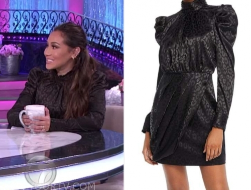 adrienne bailon's black jacquard leopard mock neck dress