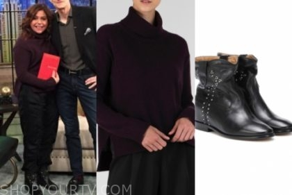 rachael ray's purple turtleneck and black boots