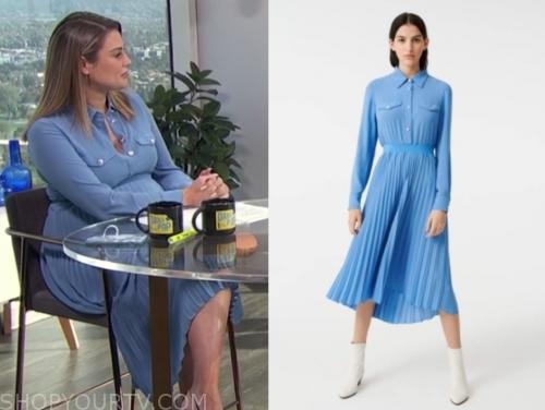 carissa culiner's blue pleated midi dress