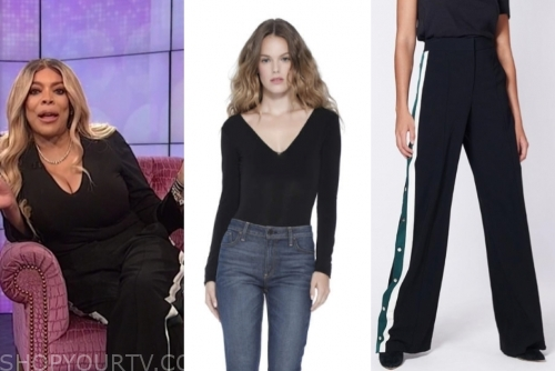 wendy williams's black top and black side stripe pants