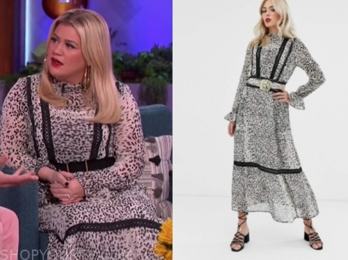 kelly clarkson's leopard lace midi dress