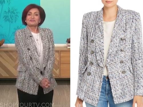sharon osbourne's grey tweed double breasted blazer