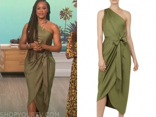 eve's green one-shoulder dress, the talk