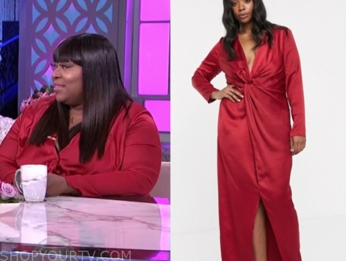 loni love's red twist maxi dress