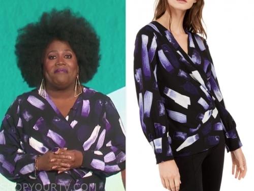 sheryl underwood's brushstroke printed blouse