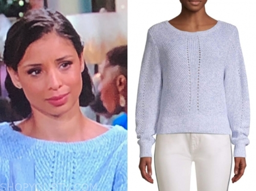 elena dawson's light blue sweater