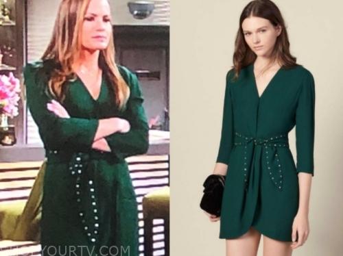 chelsea's green studded tie waist dress