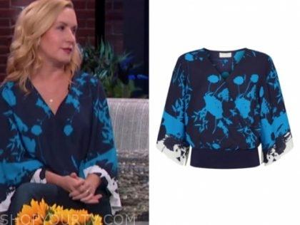 angela kinsey's blue floral blouse