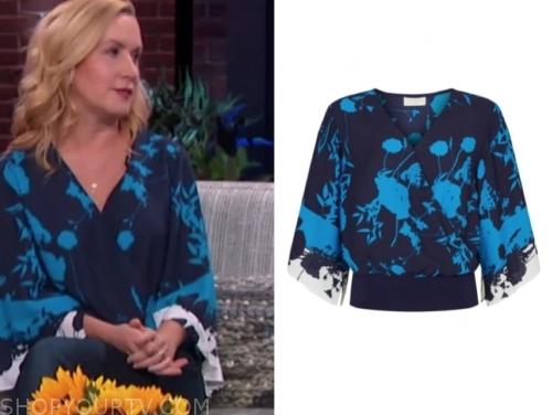 angela kinsey's blue floral blouse
