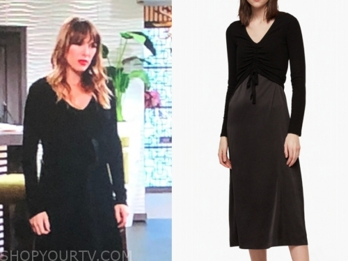 chloe mitchell's black midi dress