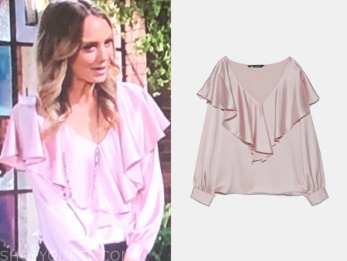 abby newman's pink ruffle blouse