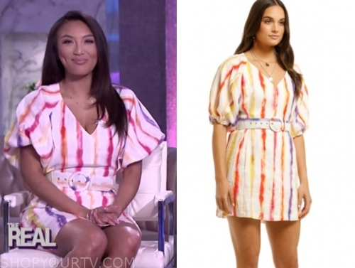 jeannie mai's rainbow stripe dress