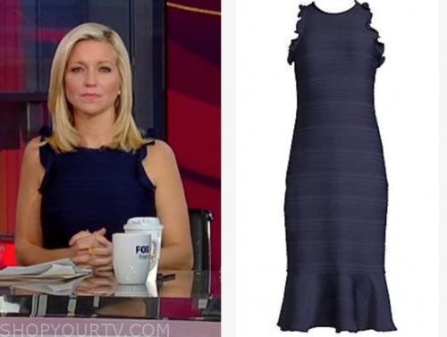 ainsley earhardt's navy blue knit ruffle dress