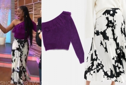 keke palmer's purple ruffle one-shoulder sweater and cow pleated midi skirt