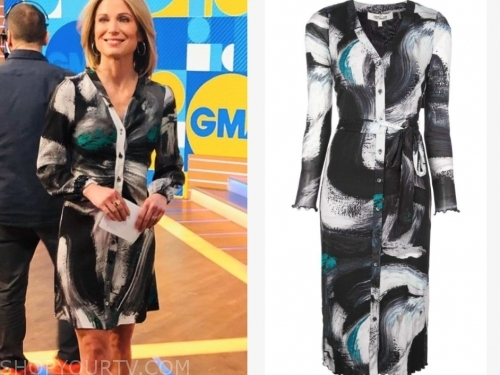 amy robach's printed dress