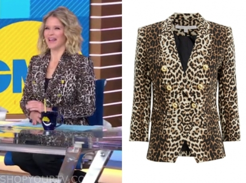 sara haines's leopard double breasted blazer