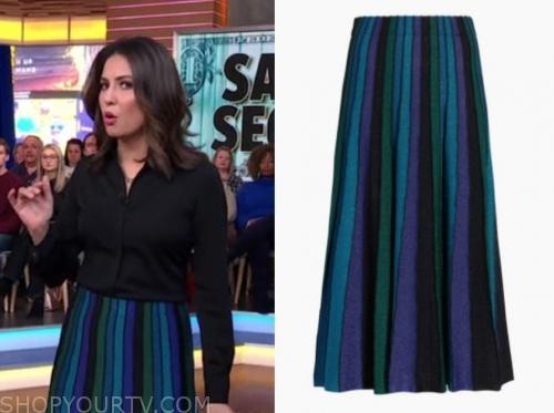 cecilia vega's metallic knit stripe skirt