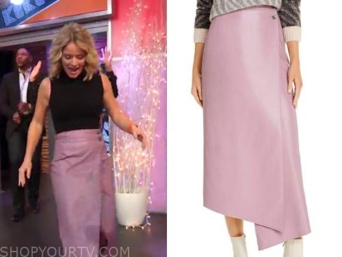 sara haines's lavender purple leather skirt
