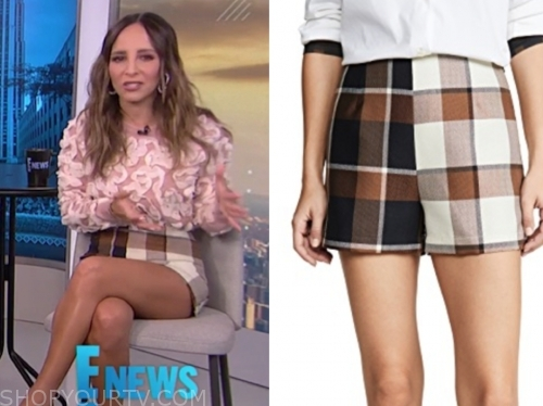 lilliana vazquez's brown check shorts