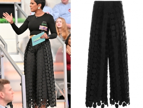 tamron hall's black circle embroidered pants