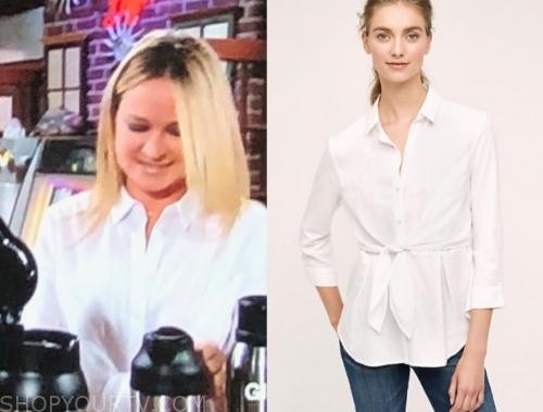 sharon newman's white tie waist shirt