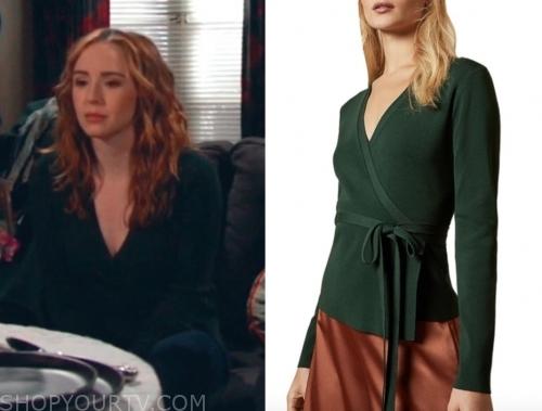 mariah copeland's green wrap knit top