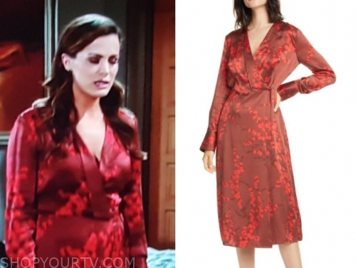 chelsea's red printed wrap dress