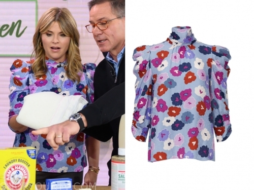 jenna bush hager's floral mock neck puff sleeve top