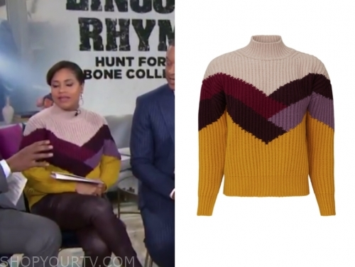 sheinelle jones's colorblock turtleneck sweater