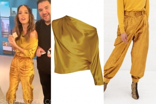lilliana vazquez's yellow one-shoulder top and yellow pants