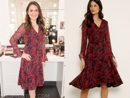 laura tobin's red floral dress
